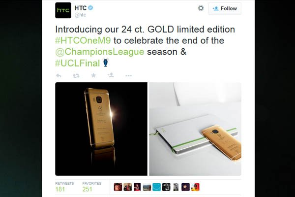 Tweet HTC One M9 Liga champion 2015