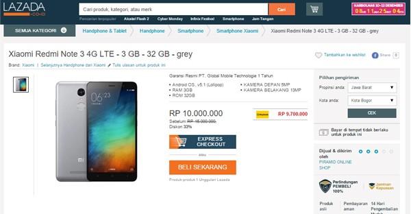 Lazada Redmi Note 10 juta