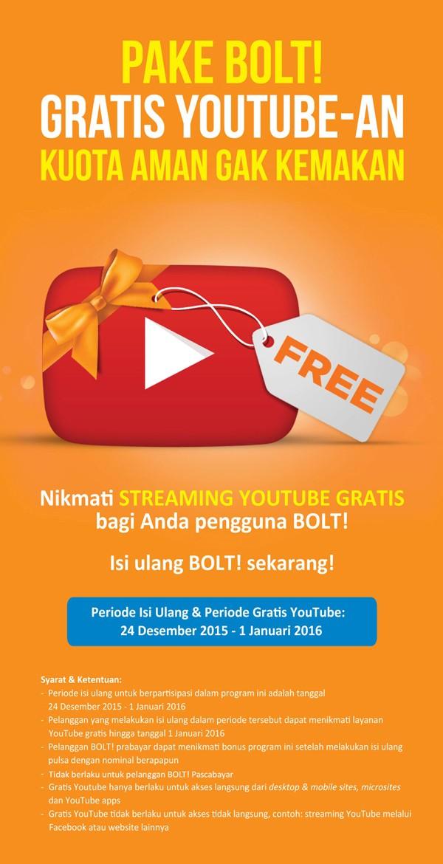 Promo isi ulang Bolt Gratis Youtube sepuasnya