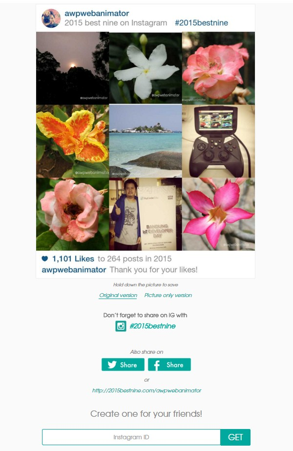 hasil 2015 best nine instagram