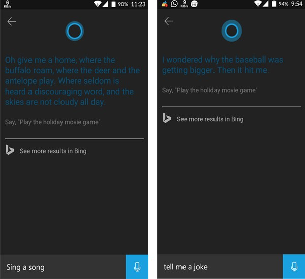 Cortana Cyanogen OnePlus One Sing