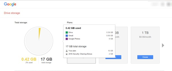 Google Drive Space 2GB