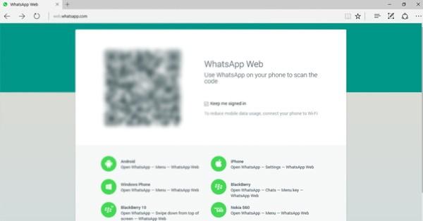 QR Code Microsoft Edge WhatsApp