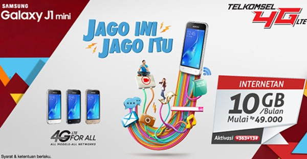 Samsung Galaxy J1 Mini Telkomsel 10 GB