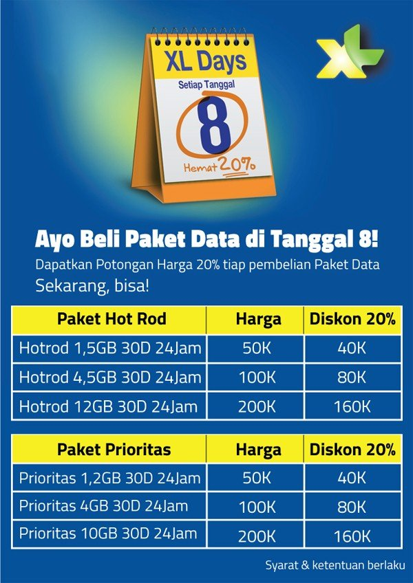 Paket Internet XL Diskon 20 Persen