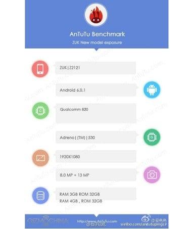 Zuk Z2 Pro Leak AnTuTu