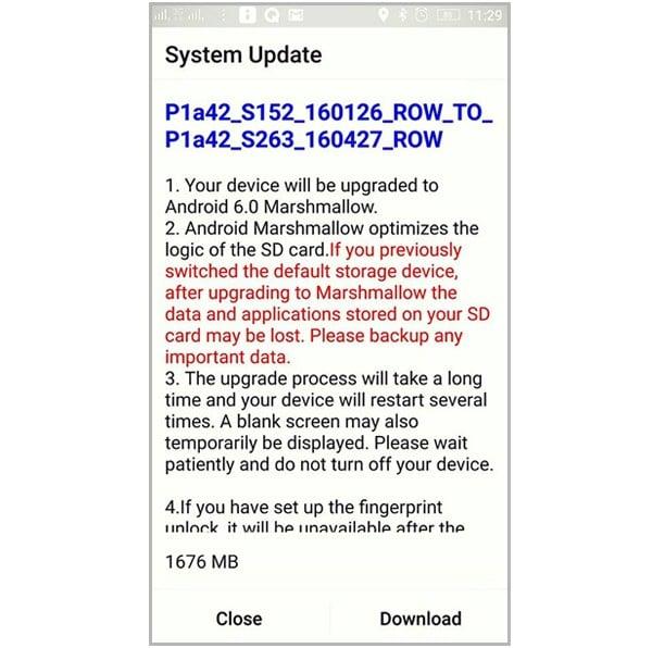 Lenovo VIBE P1 Android Marshmallow