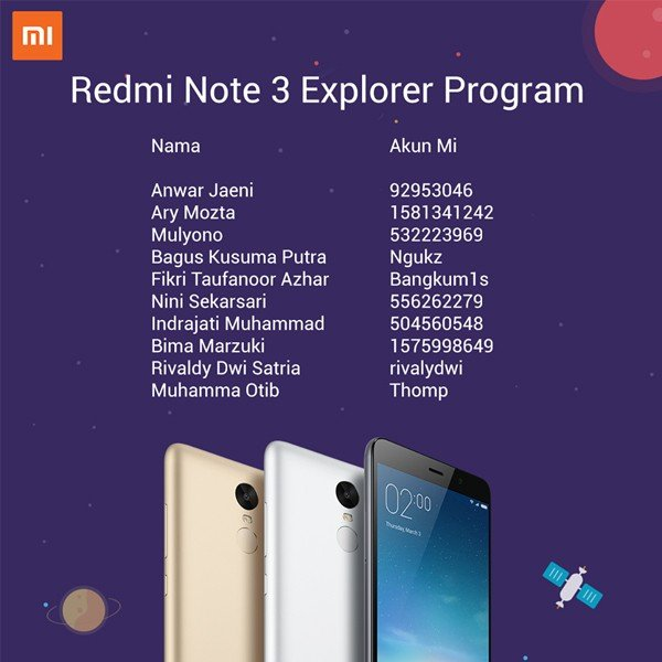 Pemenang Redmi Note 3 Explorer Program Indonesia