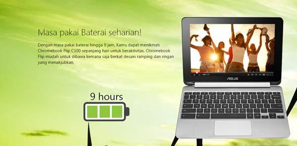 9 Jam ASUS C100PA ChromeBook