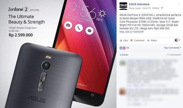 ASUS Zenfone 2 RAM 4 GB cuma 2 jutaan