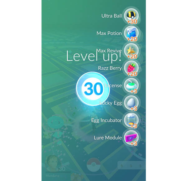 Hadiah atau Reward Level 30 Pokemon GO