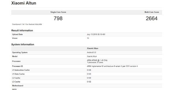 Xiaomi Altun leak Geekbench
