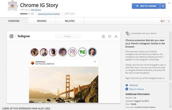 Cara melihat instagram stories di browser Chrome add