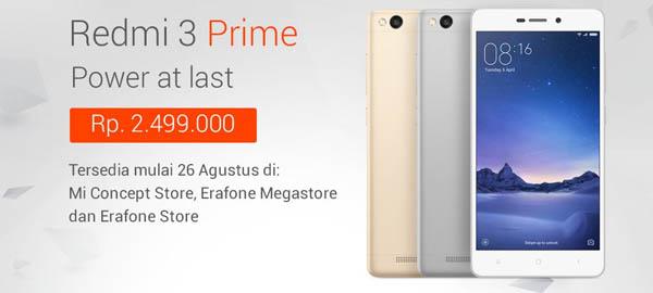 Redmi 3 Prime Rilis Indonesia