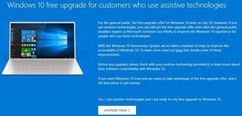 Windows 10 Upgrade Gratis Assistive Technology