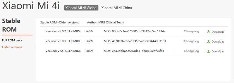 Downgrade MIUI Xiaomi Mi 4i ROM