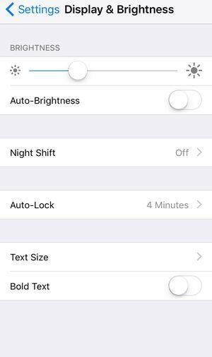 iOS 10 Brightness