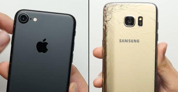 iPhone 7 vs Galaxy S7 Edge Tes Jatuh