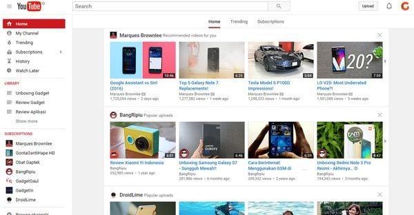 cara menghapuse riwayat youtube header