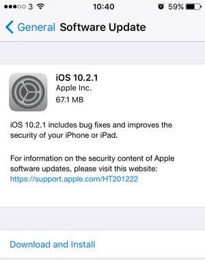 update iOS 10.2.1