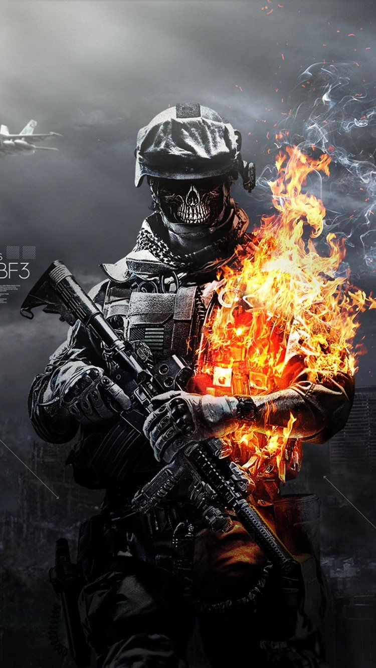 Battlefield 3 Skulls Fire Soldier iPhone Wallpaper