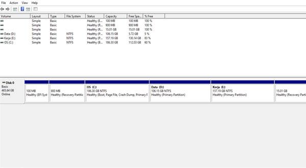 Cara Partisi Hardisk Windows 10 Disk Management
