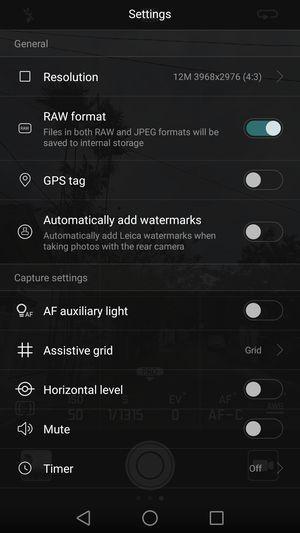 Huawei P9 RAW Format Setting