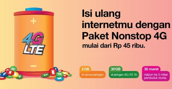 Paket Internet Tri Nonstop 4G Header