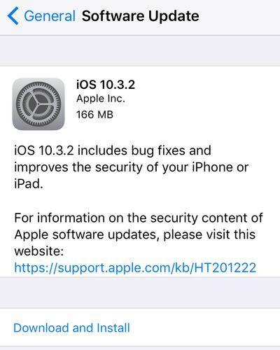 iOS 10.3.2 Update