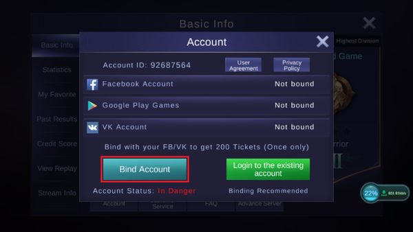 Cara Bind Akun Mobile Legend Binding