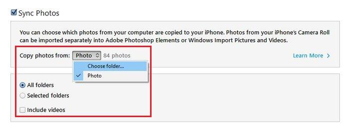 iTunes Foto Laptop ke iPhone Selects