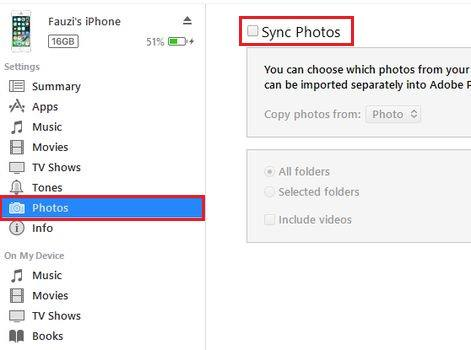 iTunes Foto Laptop ke iPhone Sync Photoss