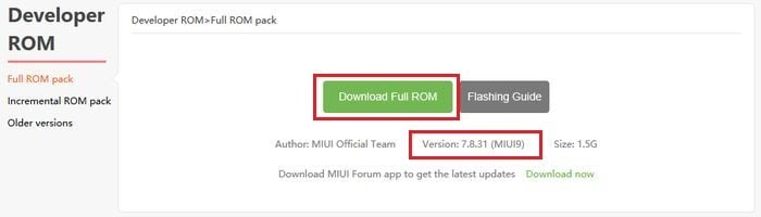 MIUI 9 Developer ROM Download