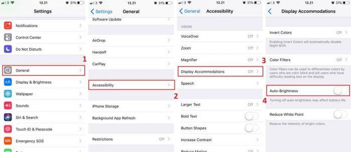 iOS 11 Auto Brightness Langkah