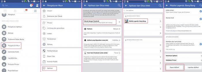 Menghapus Riwayat Akun Mobile Legens di Facebook