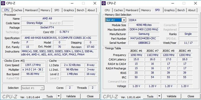 HP 14-BW017AU CPUZ