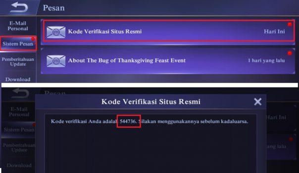 Mengambil Kode Verifikasi di Aplikasi Mobile Legend