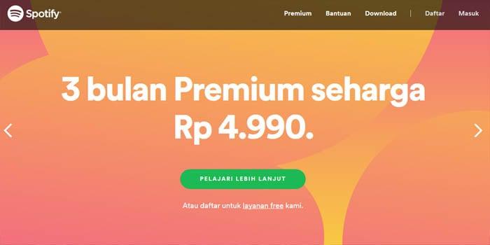 Spotify 5 ribu Premium Header