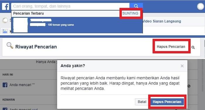 Cara Hapus Riwayat Pencarian Facebook via Web