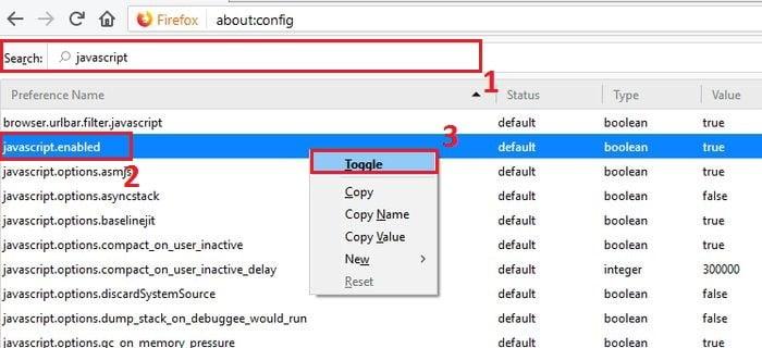 Javascript Firefox Toggle