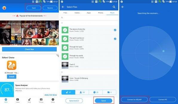 Berbagi Konten Android iPhone dengan SHAREit