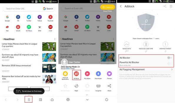 Cara Mematikan Ad Block di UC Browser Android