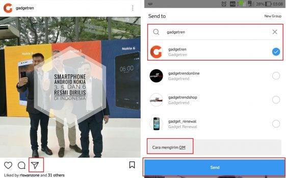 Cara Mengirimkan DM Instagram Melalui Post
