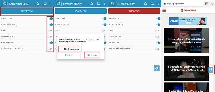 Cara Screenshot Samsung Galaxy J7 Prime Tanpa Tombol dengan Screenshot Easy