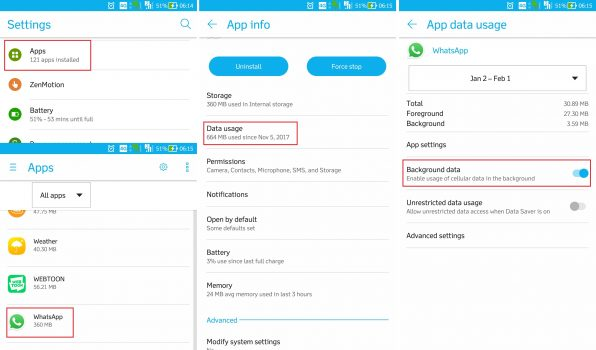 Notifikasi Whatsapp Tidak Muncul - Cek Data Backgroud