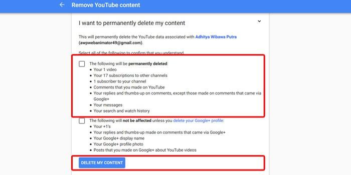Youtube Delete Content