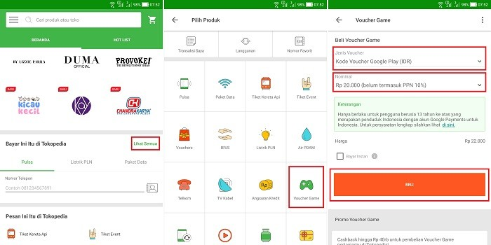 Membeli Voucher Google Play Wallet di Tokopedia