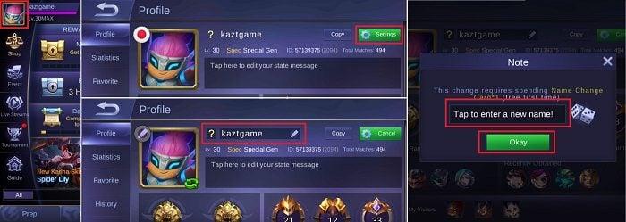 Cara Mengganti Nama ID di Mobile Legend