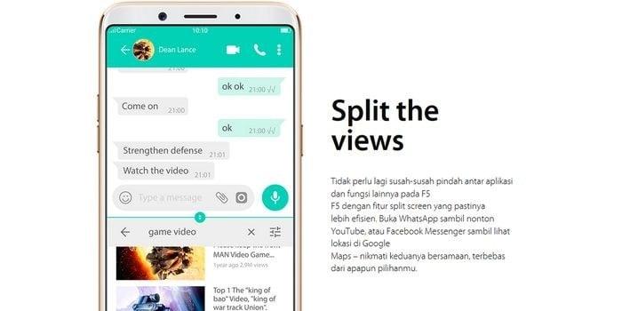 Oppo F5 Split Screen Headers