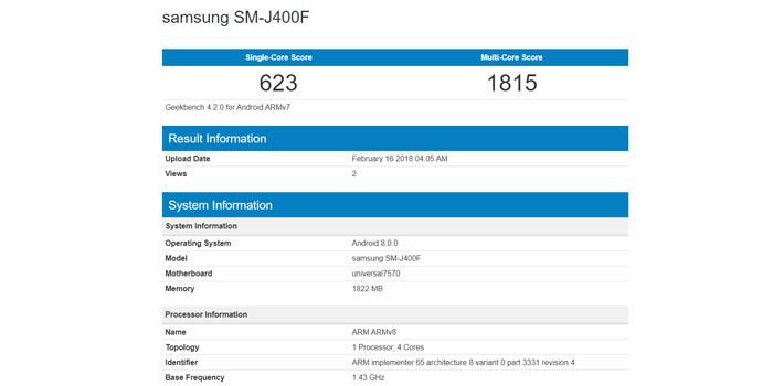 Samsung Galaxy J4 Geekbench